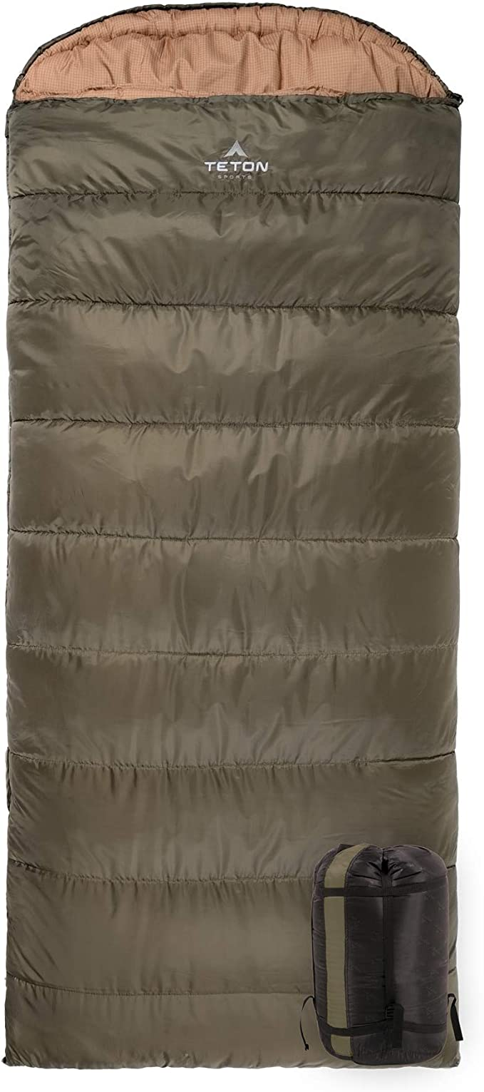 TETON Sports Celsius Regular Sleeping Bag; Great for Family Camping Green Poly Liner, 80 x 33-Inch, Right