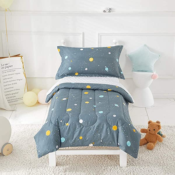 Uozzi Bedding 4 Piece Space Style Toddler Bedding Set With Planets Includes Adorable Quilted Comforter Fitted Sheet Top Sheet And Pillow Case For Boys Bed