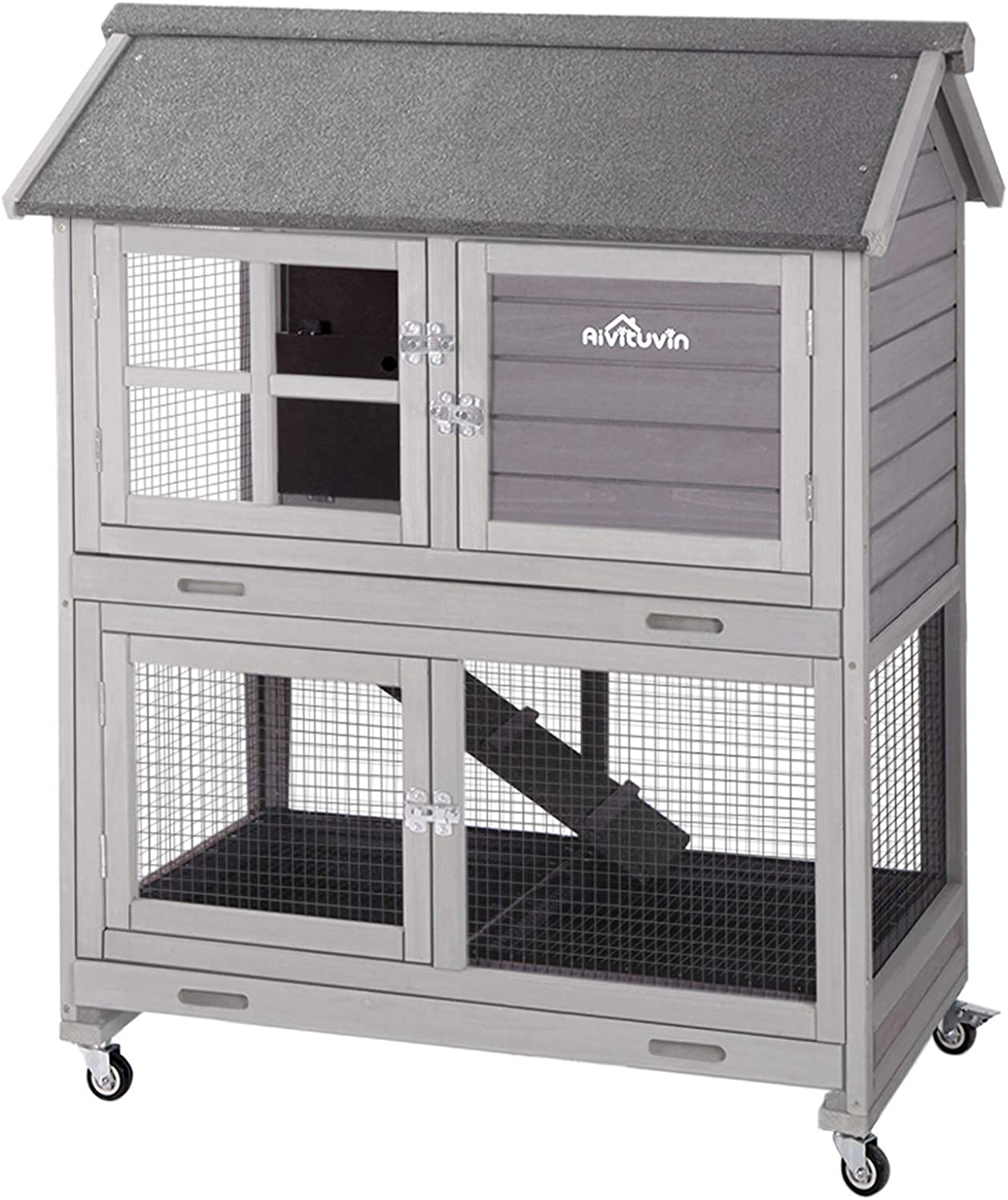 [Upgrade Version] Rabbit Hutch Bunny Hutch, Rabbit Cage with Two No Leak  Trays, Indoor & Outdoor Cage for Bunny,  Upgraded Bottom Wire Netting