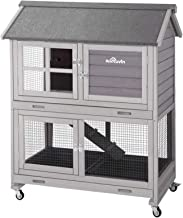 Aivituvin [Upgrade Version] Rabbit Hutch Bunny Hutch, Rabbit Cage with Two No Leak Trays, Indoor & Outdoor Cage for Bunny,...
