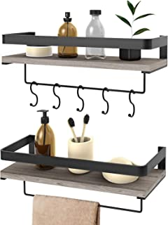 Audoc Floating Shelves Wall Mounted 2 Set, Bathroom Shelf with Rail, Towel Bar and 5 Hooks, Decorative Storage Shelves for Kitchen, Bathroom, Living Room, Bedroom - Rustic Pine Wood(16.5inch)