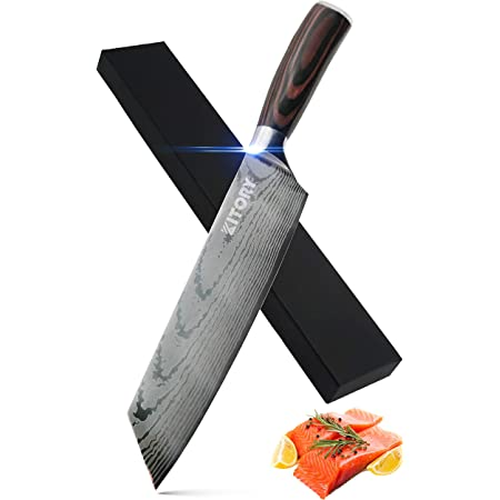 "KITORY Kiritsuke Knife Chef`s Knife 8"" - Japanese Traditional Kitchen Knives for slicing meats and Vegetables - Ergonomic PakkaWood Handle - Damascus Pattern"
