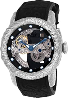 Men's 50mm Empire Dragon Ghost Automatic Skeletonized Dial Silicone Strap Watch