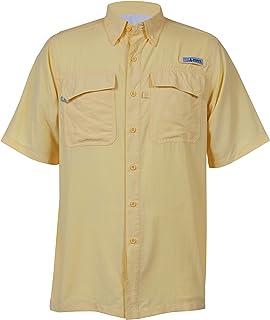 HABIT Men's Taku Bay Short Sleeve River Guide Fishing Shirt, Pale Banana, Medium