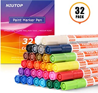 Acrylic Paint Pens for Rock, 32 Bright Colors Paint Markers Kit for Glass, Stone, Wood, Fabric, Metal, Ceramic, Rock & More, Medium Point, Oil Based Paint Markers, Acid Free Non Toxic, Quick-Dry