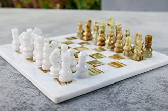 Radicaln Handmade White and Green Onyx Weighted Full Chess Game Set Staunton and Ambassador Gift Style Marble Tournament Chess Sets for Adults - Non Wooden - Non Magnetic - Not Backgammon - Non Glass
