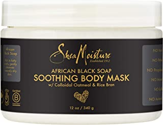 Sheamoisture Soothing Body Mask Body Mask for Sensitive Skin African Black Soap Body Mask with Shea Butter 12 oz