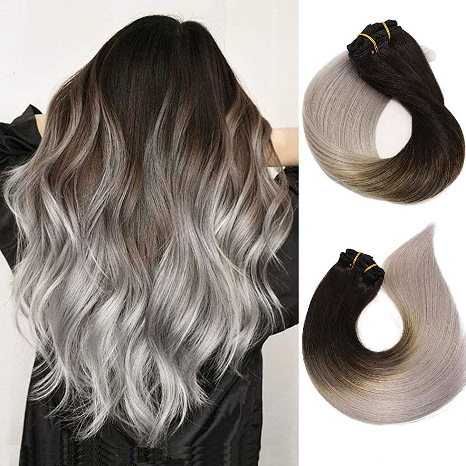 Clip In Hair Extensions Human Hair Ombre Hair Natural Black Fading to Silver Gray Brazilian Hair 120g 7pcs Per Set Remy Hair Full Head Silky Straight Human Hair Clip In Extensions 16 Inch