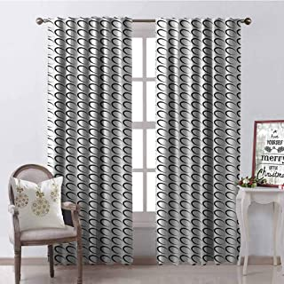 GloriaJohnson Black and White Shading Insulated Curtain Minimal Pattern with Slanted Oval Shapes Elongated Elliptic Outlines Soundproof Shade W100 x L84 Inch Black and White