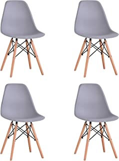 BenyLed 4er Set Zeitgenössischen Kunststoff Esszimmerstuhl Retro Design Seitenstühle für Esszimmer, Küche, Büro, Restaurant usw. Grau