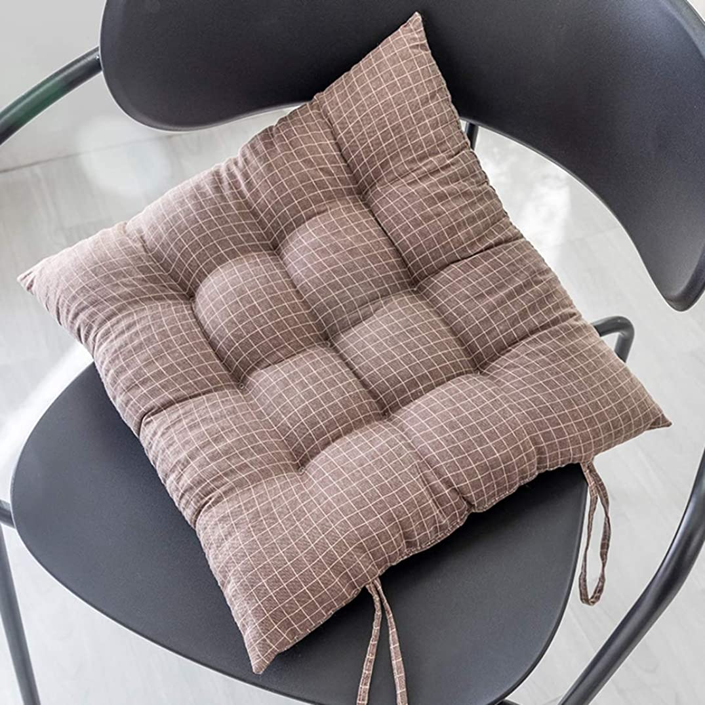 引き潮簡単な連続した綿 スクエア チェアパッド 畳,背もたれ キルト シートクッション じゃない-スリップ 厚く ソフト チェアクッション,の 車 オフィス ホーム ダイニング-ブラウン 35x35cm(14x14inch)