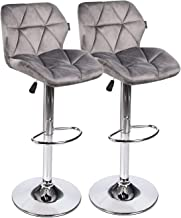 "Fullwatt Barstool Set of 2 Counter Back Adjustable – Swivel Bucket Cushioned Seat with Zipper Fabric Flannel Covers Footrest Rubber Pad Feet Protector Safe Hydraulic Gas Lift 24/30"" (Grey)"