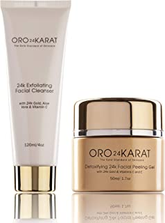 ORO24KARAT Exfoliating Facial Cleanser and Detoxifying Facial Peeling Gel with 24k Gold