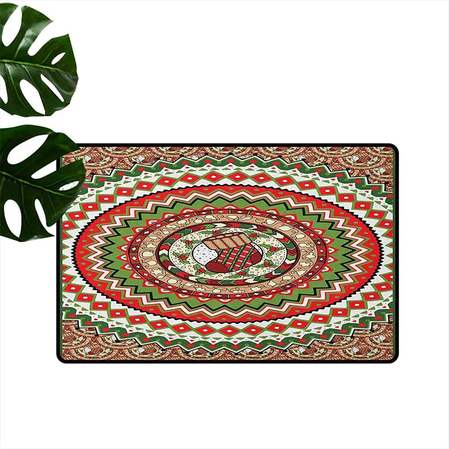 Christmas Entrance Door mat Nested Circles with Chevron Zigzag Lines Traditional Sock Mistletoe Berries Print Hard and wear Resistant W35 x L59 Multicolor