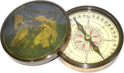 Nautical India Brass Poem Compass 4 inch The Statue of Liberty Direction Hiking Camping Brass Compass Pirate Gift Compass