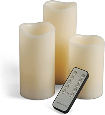 Gerson 3-Piece 4/5/6-Inch Flameless LED Candle Set with Universal Remote Control