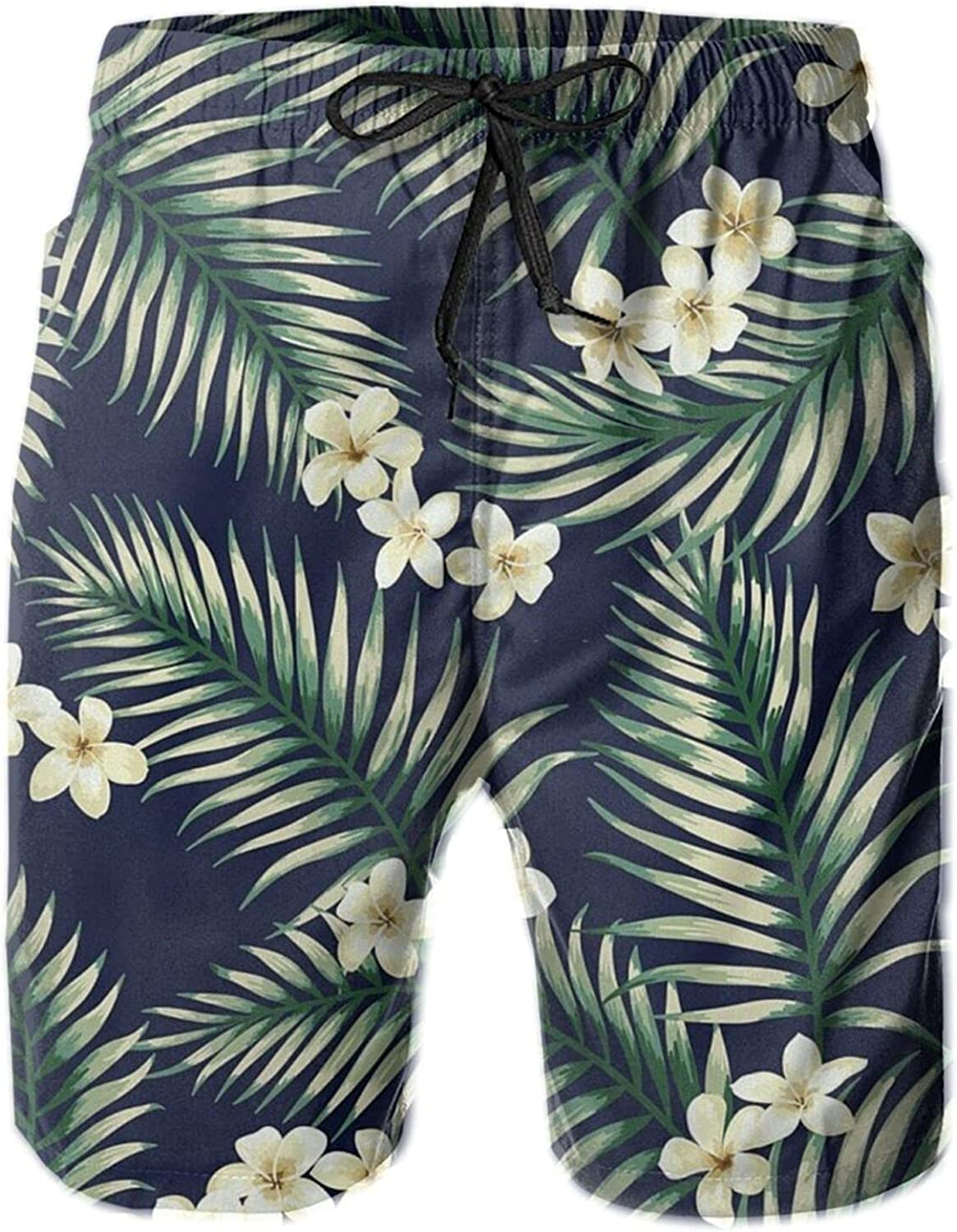 Huatansy Holiday Exotic Pattern with Tropical Leaves and Flowers Hawaiian Shorts Mens Swim Trunks Quick Dry Beach Boardshorts White