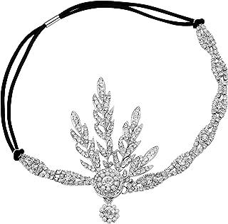 Babeyond Art Deco 1920's Flapper Great Gatsby Inspired Leaf Medallion Pearl Headpiece Headband