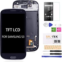 for Samsung Galaxy S3 i9300 i9301 i535 LCD Replacement Touch Screen Digitizer TFT Display Touchscreen Glass with Frame Assembly Kits,(NOT AMOLED) Include Tempered Glass (Blue)