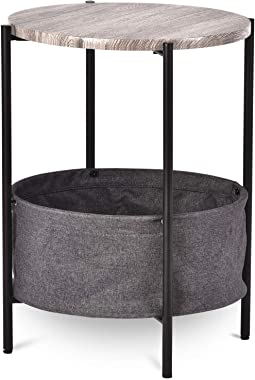 Allewie 24 Inch Round Small Living Room Table/Industrial End Table/Side Table with Rustic Wood Top and Black Metal Frame/Bedside Table/Coffee Table/Accent Table with Fabric Storage Basket