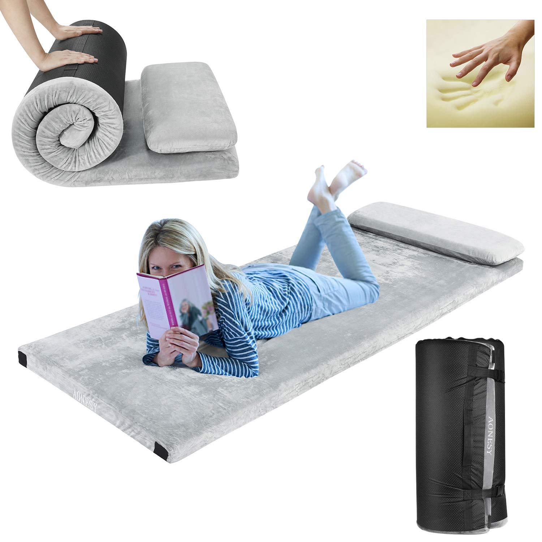Aonesy Memory Foam Camping Mattress Roll Up Floor Mattress For