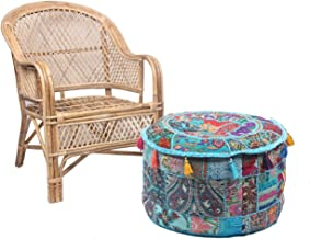 Jaipur Textile Hub Ethnic Indian Cotton Patchwork Embroidered Ottoman Stool Pouf Cover (JTH-AP-10)
