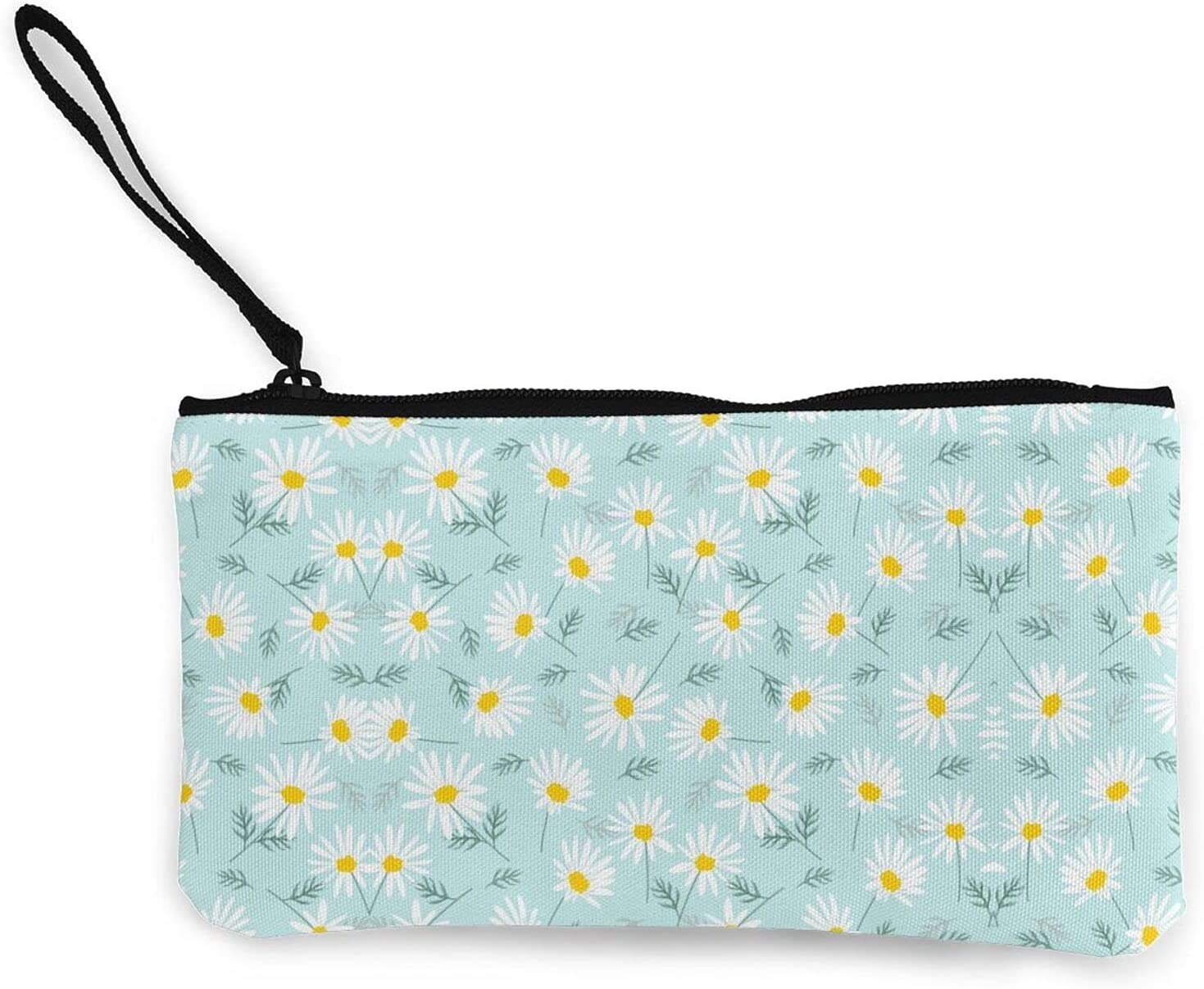 Botanical Blue And White Dainty Floral Daisy Zipper Pouch/ Canvas Coin Purse Wallet/ Cute Mini Change Wallet For Women/ Pouch Card Holder Phone Storage Bag