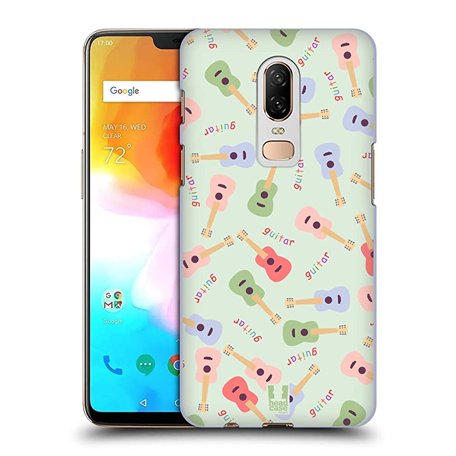 Head Case Designs Guitar Pajama Patterns - Musical Intruments Hard Back Case Compatible for OnePlus 6