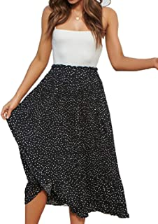 تنانير طويلة من القماش للنساء مطبوع عليها نمر عالي الخصر مطوي سوينغ