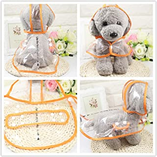PETGADS Dogs Raincoat Transparent with Hood for Small Medium Large Dogs Green Pink Orange White