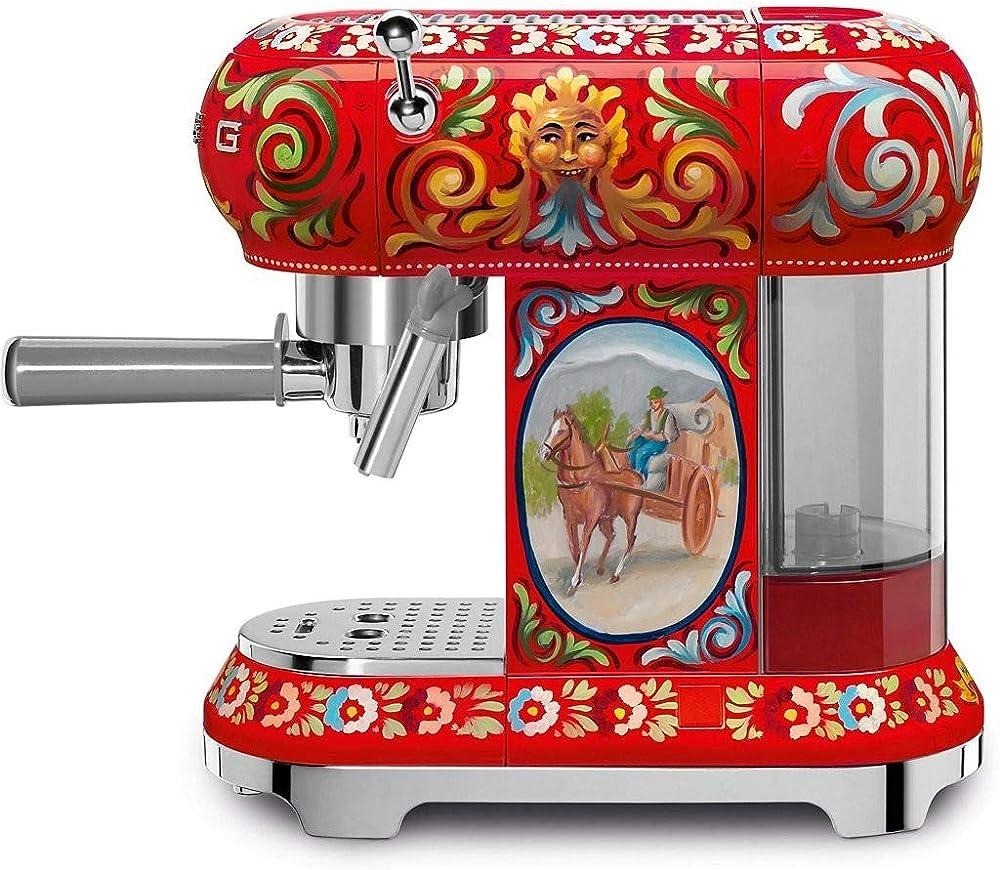 Smeg, macchina da caffè espresso dolce & gabbana, in acciaio ECF01DGEU