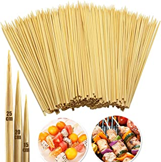 INTVN Pinchos de Bambú Naturales, 250 Pcs Madera Brochetas Múltiples tamaños 15 + 20 + 30 cm | Brochetas de bambú Marshmallow | Hot Dogs, para barbacoa Brochetas kebab | 100% Biodegradable