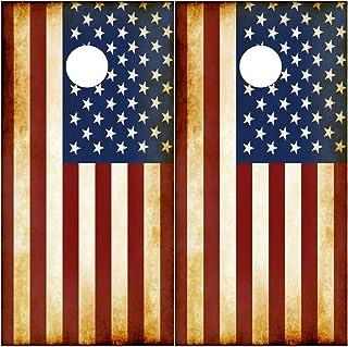 Speed Demon Hot Rod Shop Cornhole Board Wraps ~ Rustic American Flag Corn Hole Boards Laminated Decal Wrap (Set of 2) CHB