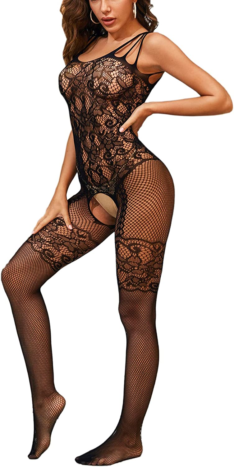 SheIn Women's Super Time sale beauty product restock quality top Spaghetti Strap Lace Sexy Lingerie Babyd Stockings