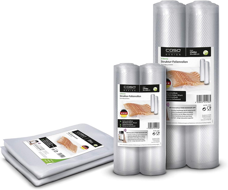 Transparent BPA-Frei Caso 1281 Folienbeutel und Folienrollen f/ür Vakuumierer