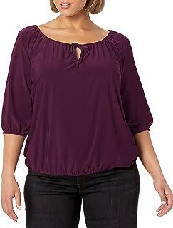 Star Vixen womens Plus-Size 3/4 Sleeve Peasant Elastic-Hem Keyhole-Tie Top Blouse
