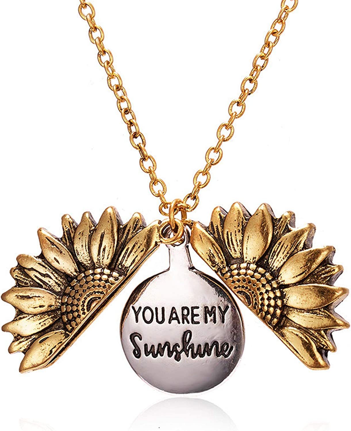 RMOJUL You are My Sunshine Necklace - Unique Sunflower Locket Pendant - Gift for Mom, Sister, Best Friend, and Girlfriend, Ideal for Birthdays, Christmas Day, Valentine's Day