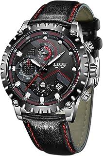 LIGE Relojes Hombres Cronógrafo Impermeable Militar Deportivo Analógico Cuarzo Relojes Hombre Moda Negro Cuero Relojes