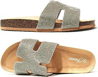 Forever Link SF Birken Womens Glitter Thong Slip On Casual Slide Flip Flop Sandals