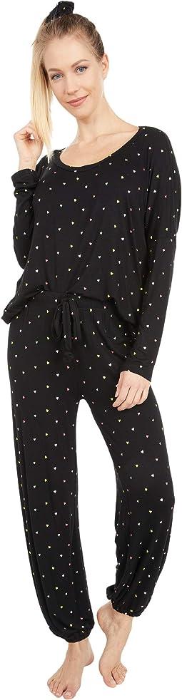 Ultra Soft Heart Jersey Pajama + Scrunchie Set