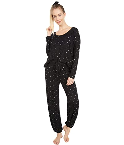 Plush Ultra Soft Heart Jersey Pajama + Scrunchie Set (Black Multi) Women