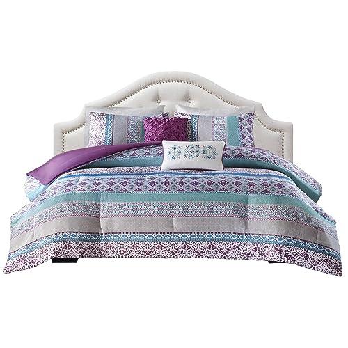 Teen Bedding For Girls Comforter Set Full Queen Twin Purple Blue Turquoise  Dorm Room Bedspread Bundle