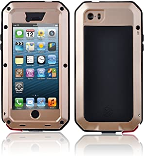 New Waterproof Shockproof Aluminum Gorilla Glass Metal Military Heavy Duty Armor Bumper Cover Case for Apple iPhone 5 5S Home Key +Fingerprint (Gold)