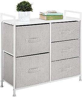 mDesign commode 5 tiroirs – table de chevet en tissu/métal/bois pour la chambre à coucher, chambre d'enfants, etc. – table...