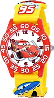 Disney Kids' W001509 Time Teacher 3D Cars Watch with Yellow Plastic Band