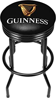 Trademark Gameroom Guinness Custom Outdoor Black Ribbed Barstool - Harp