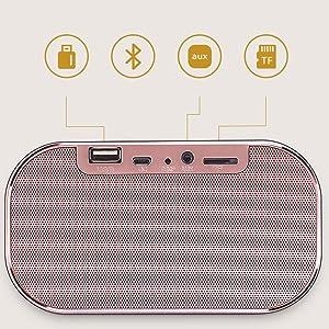 Diuspeed sveglia con altoparlante Bluetooth e grande specchio, orologio da tavolo comodino LED e display LED a intensità variabile oro rosa