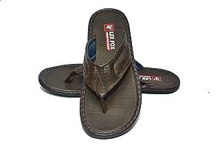 Lee Fox Men Casual Leather Slipper Brown
