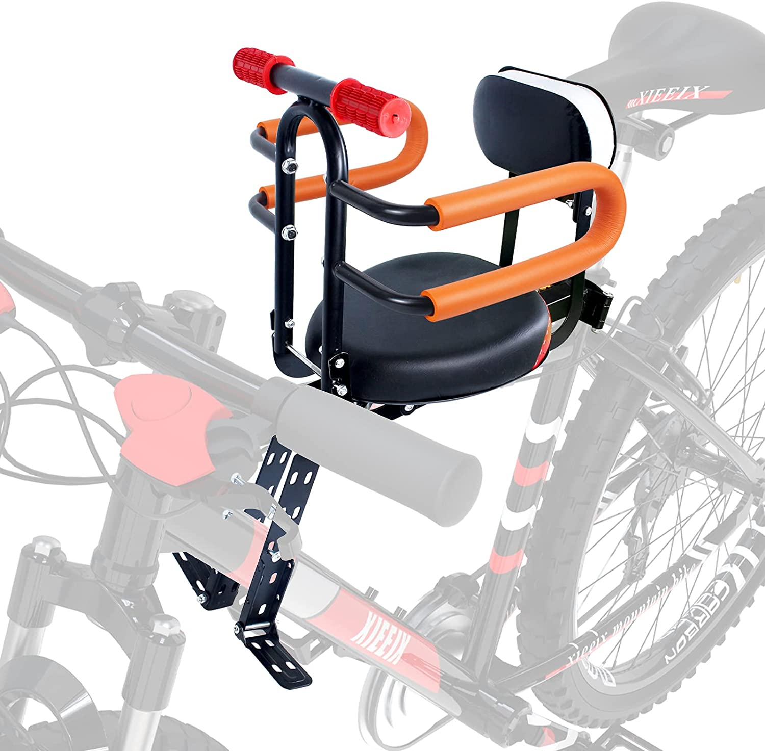 XIEEIX Front Mount Child Bike Seats, Foldable Baby Kids' Bicycle Seat with Guardrail Seat Back, Adjustable Seat and Pedal Child Bicycle Seat, Child Safety Seat Suitable for Various Types of Bicycles