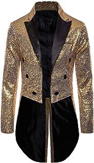 Eghunooze Mens Sequin Long Jacket Tailcoat Swallowtail Suit Gentleman Jacket Coat Dinner Party Wedding Blazer Nightclub Dr...